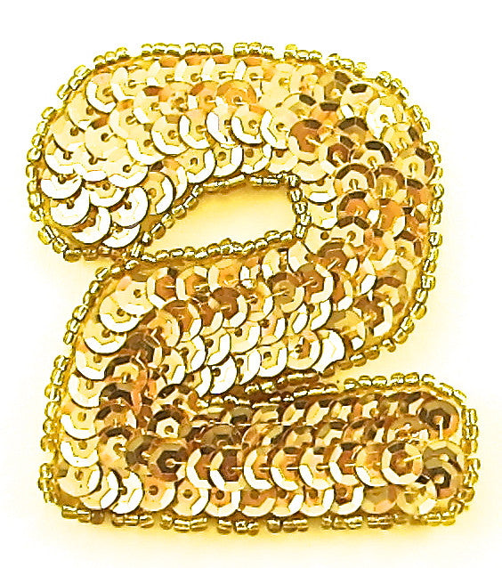 "Number Two Gold 2.25"" x 2"""