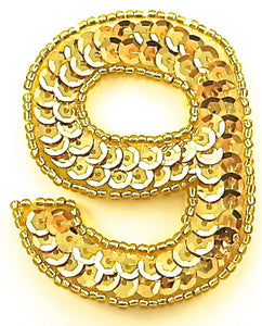 "Number 9with Gold Sequins and Beads  2.25"" x 2"""