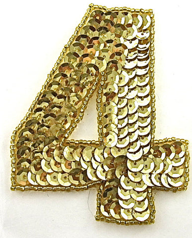 "Checked - Number Four with Gold Sequins and Beads 2.5"" x 2"""