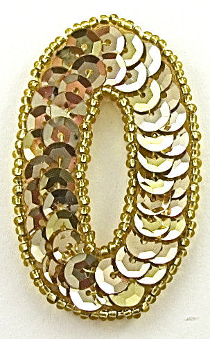 "Number Zero Gold Sequins and Beads 2.5"" x 1.5"""