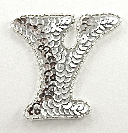 Letter Y with Silver Sequins and Beads 2.25""