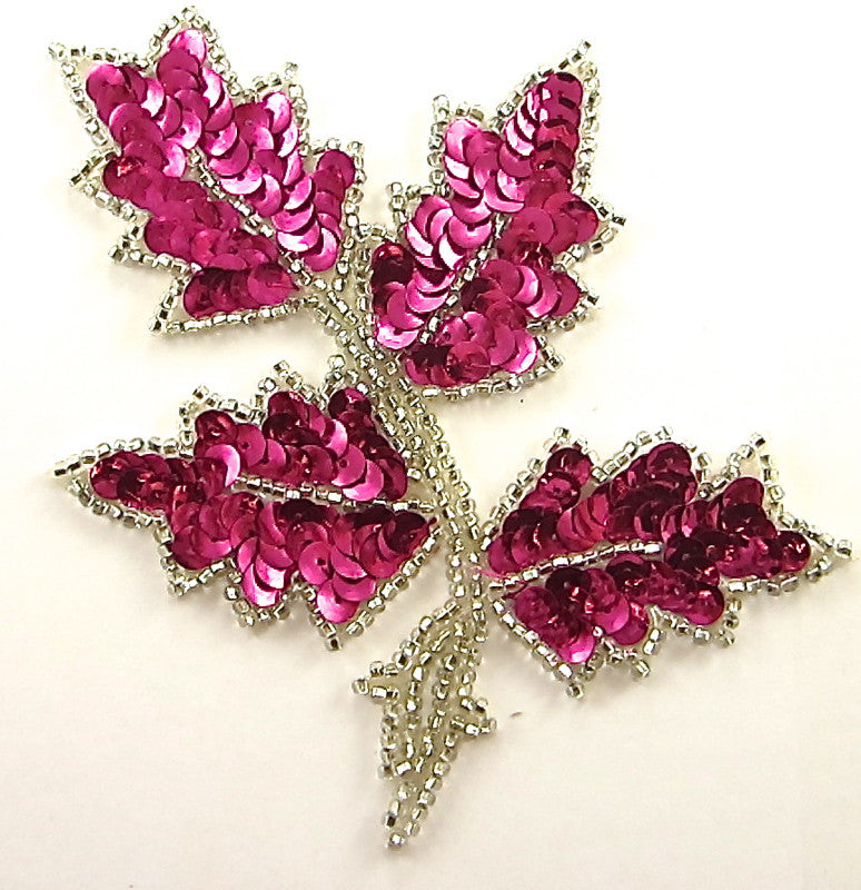 "Leaf with Bright Fuchsia Sequins and Silver Beads 5"" x 4"""