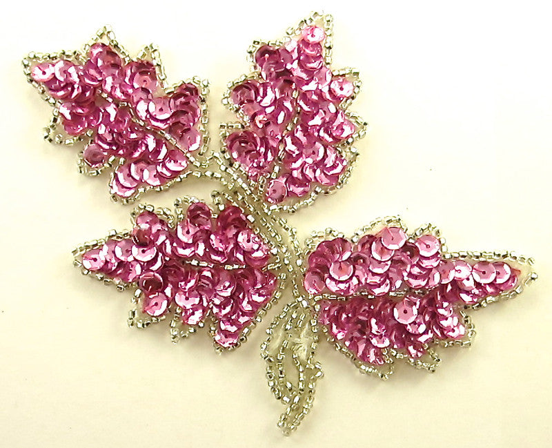 "Leaf Single with Pink Sequins and Beads 5"" x 4"""
