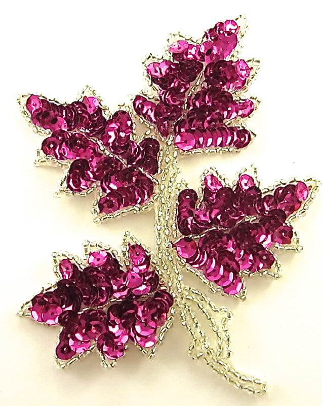 "Leaf with Fuchsia Sequins Silver Beads 5"" x 4"""