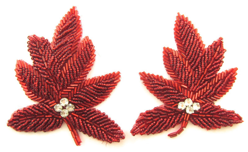 "Leaf Pair with Red Beads and Rhinestones 3"" x 3.5"""