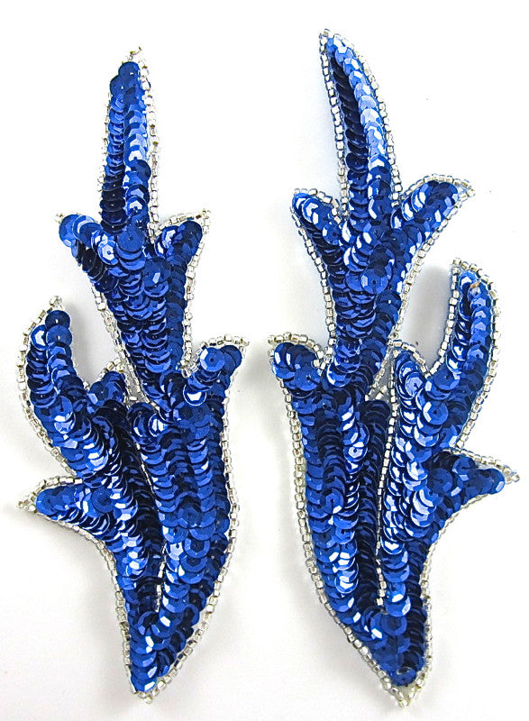 "Leaf Pair with Royal Blue Sequins and Beads 7"" x 2.5"""