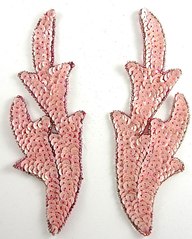 "Leaf with Pink Sequins Dark Pink Beads 7"" x 2.5"""