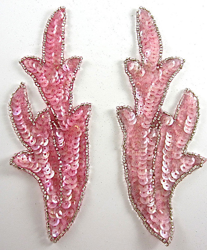 "Leaf Pair with Soft Pink Sequins Silver Beads 7"" x 2.5"""