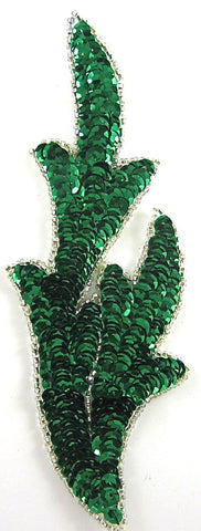 "checked Leaf with Green Sequins Silver Beads 7"" x 2.5"""