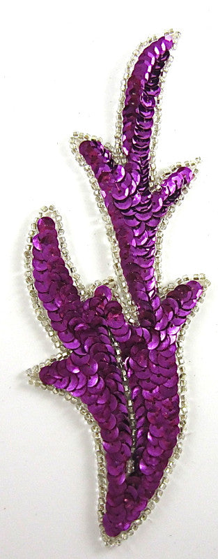 "Leaf with Magenta Sequins Silver Beads 7"" x 2.5"""