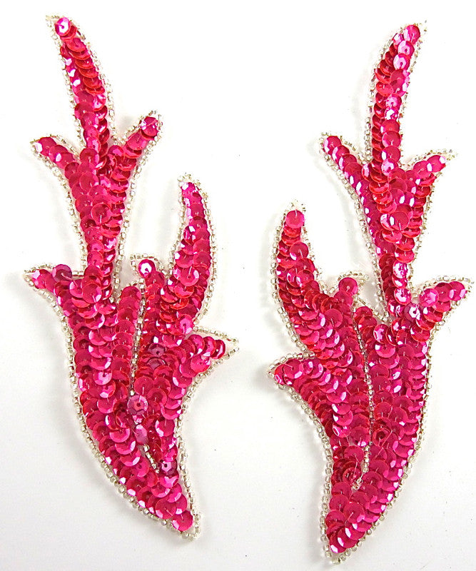 "Leaf Pair with Fuchsia Sequins and Silver Beads 7"" x 2.5"""