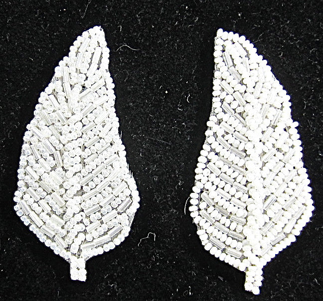 "Leaf Pair with China White Beads 3"" x 1.5"""