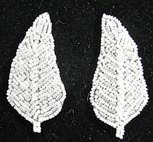 "Load image into Gallery viewer, Leaf Pair with China White Beads 3"" x 1.5"""