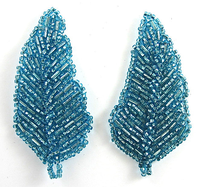 "Leaf Pair with Turquoise Beads 3"" x 2.5"""