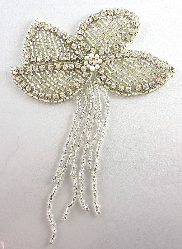 "Flower Epaulet with Rhinestones and Pearls 6.5"" x 4.5"""