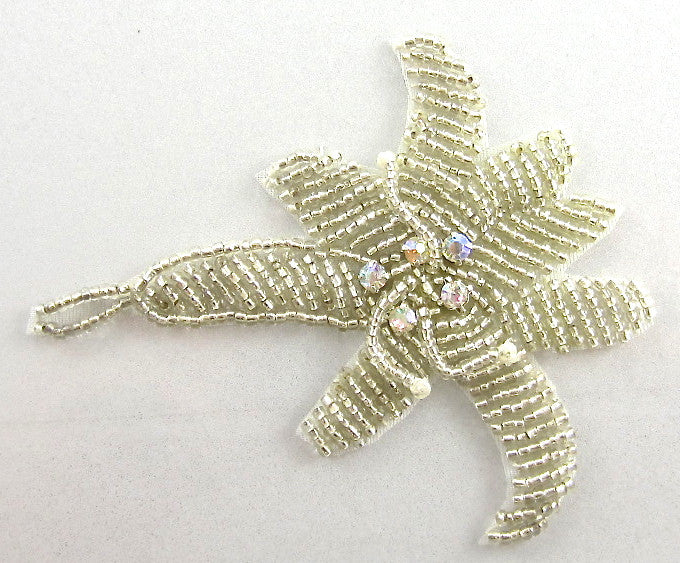 "Flower with Silver Beads 5 AB Rhinestones 3.5"" x 3"""
