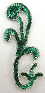 "Designer Motif Single with Green Sequins and Silver Beads 5.5"" x 2.5"""