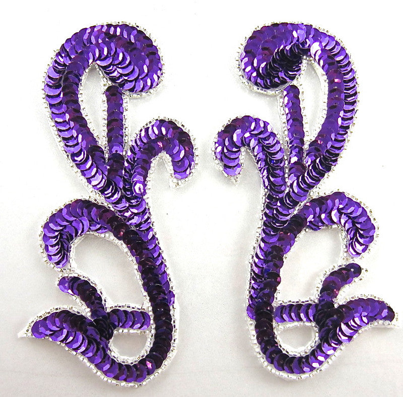 "Designer Motif Pair with Purple Sequins Silver Beads 5.5"" x 2.5"""