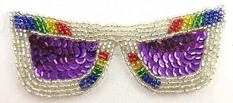 "Sun Glasses with Silver Purple Sequins and Silver Multi-Colored Beads 1.5"" x 4.5"""