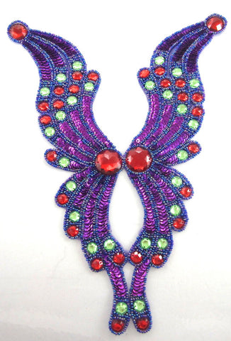 "Designer Moti Bodice with Purple Red Green Sequins/Beads and Stones 12"" x 9"""
