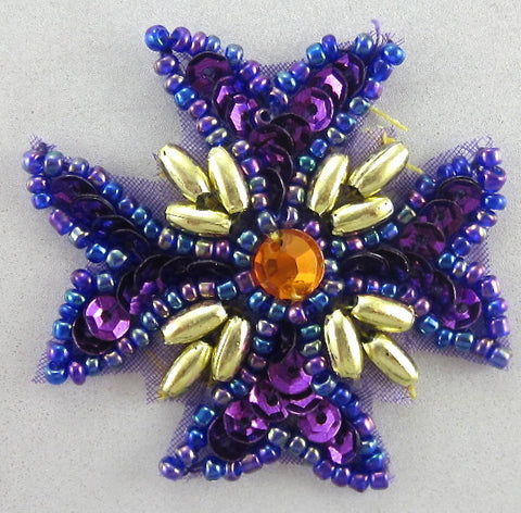 "Designer Motif Medallion Purple Sequins Gold Stones and Beads 1.5"" x 1.5"""