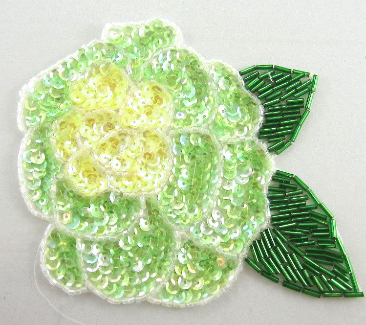 "Flower with Lime Green and Yellow Sequins and Green Beaded Leaf 6"" x 5"""