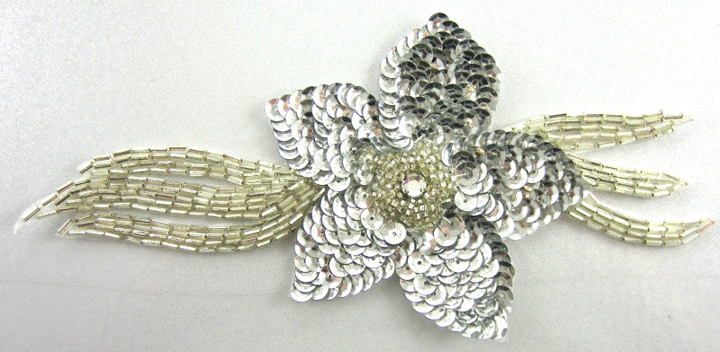 "Flower with Silver Sequins and Long Leaf Silver Beaded 7"" x 3"""