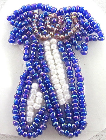 "Ballet Slippers with Purple and White Beads 2"" x 1.25"""