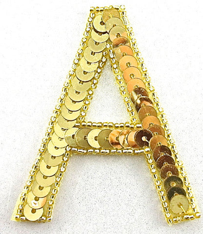 Letter A with Gold Sequins and Beads 3""