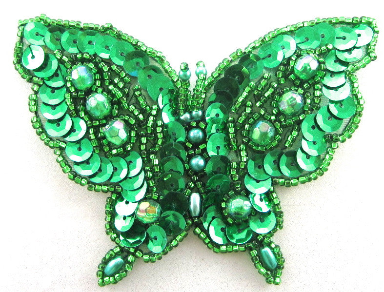 "Butterfly with Green Sequins and Beads 3"" x 4"""