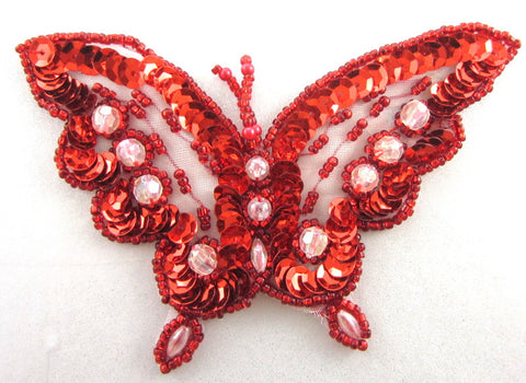 "Butterfly Red Sequins and Raised Clear Beads 3"" x 4"""