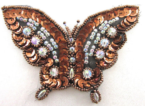 "Butterfly Bronze Sequins with Clear Beads 3"" x 4"""