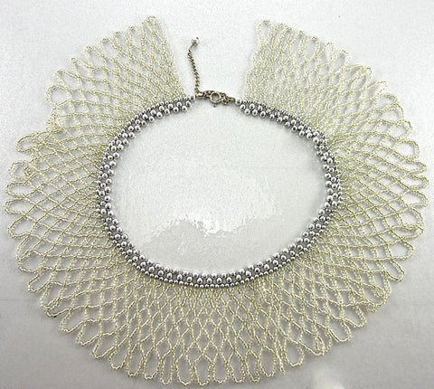 "Silver Beaded Collar Necklace with Clasp 16.5"" Long x 2.5"" Wide"