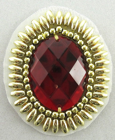 "Designer Motif Jeweled Stone Accent Piece with Red and Gold 2"" x 1.5"""