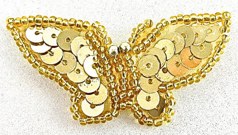 "Butterfly with Gold Sequins and Beads 1"" x 2"""