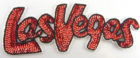 "Las Vegas Word Spelled out with Red and Black Sequins and Beads 3.25"" x 8.5"""