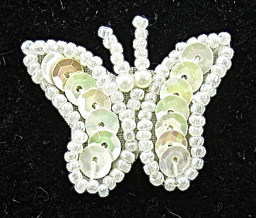 "Butterfly with White Sequins White Beads 1"" x 1.5"""