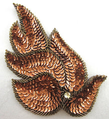 "Leaf Pair with Bronze Sequins and Beads 6"" x 5"""