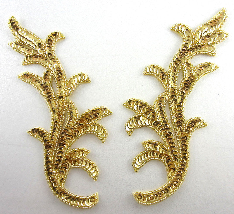"Leaf Pair with Gold Sequins and Beads 7"" x 3"""