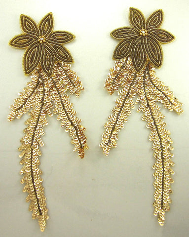 "Flower Pair with Bronze Gold Sequins and Beads Handsewn AB Rhinestone12.5"" x 4.5"