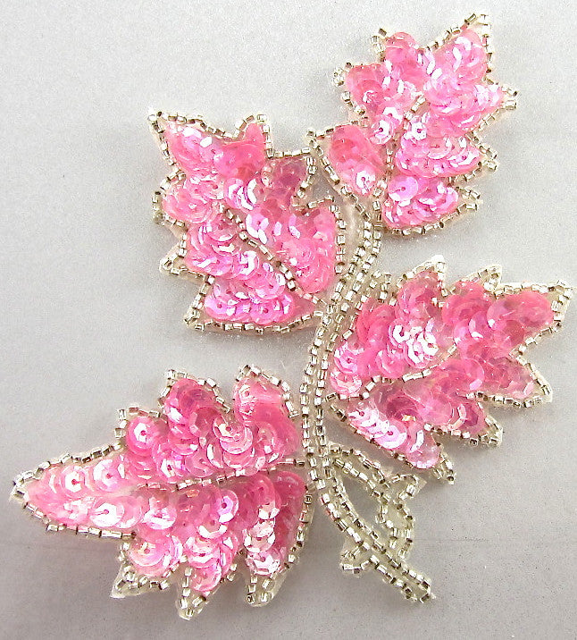 "Leaf Single Right Side with Brilliant Pink Iridescent Sequins Silver Beads 4"" x 3"""