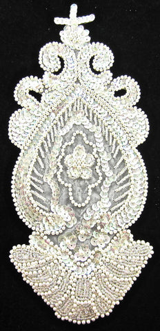 "Designer Motif Bridal Applique with  Iridescent Sequins and Beads 11"" x 5"""