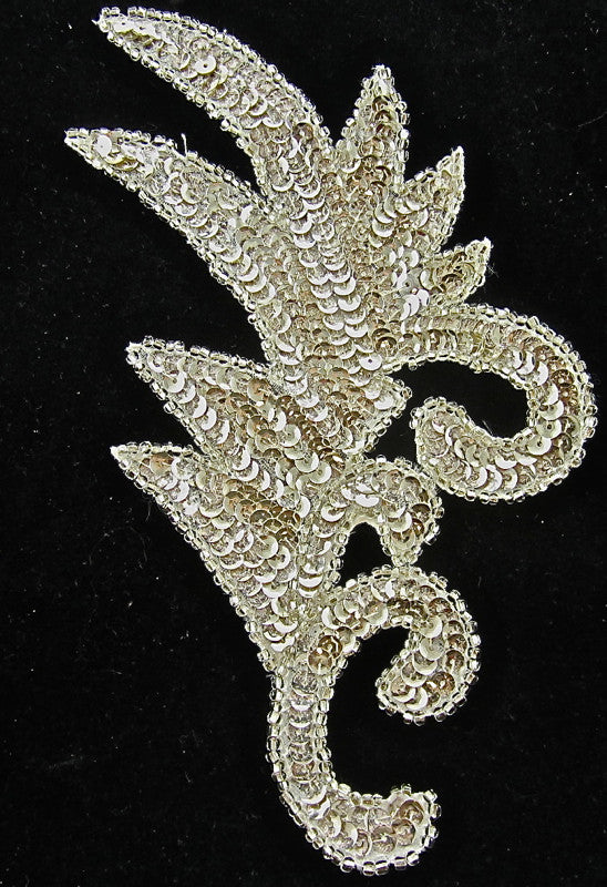 "Leaf with Shiny Gold Silver Sequins and Beads 8"" x 4"""