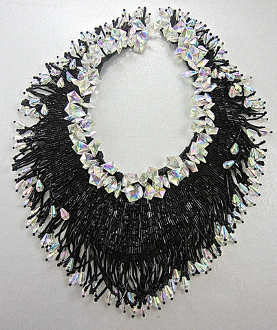 "Designer Motif Neckline Hundred Black and Iridescent Beads 10""x12"""