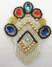 "Load image into Gallery viewer, Crest with Multi-Colored Sequins and Beads 3.5""x 2.5"""