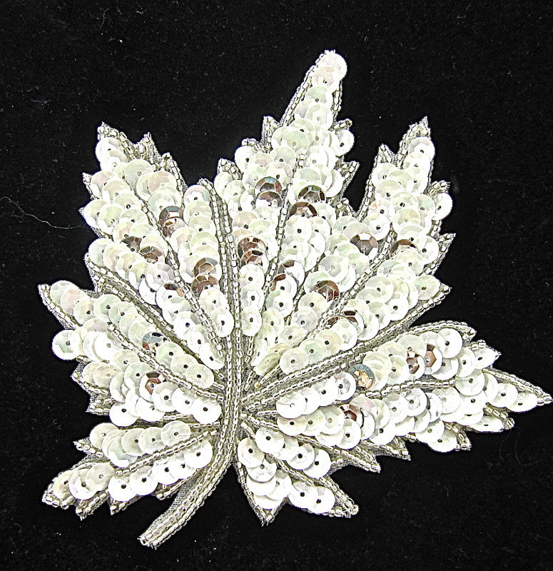 "Leaf with White and Silver Sequins and Beads 4.5"" x 4.5"""