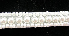 "Trim with Three Rows White Bead and Pearls 1.2"" wide"