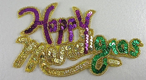 "Happy Mardi Gras Phrase, Sequin Beaded 3.5"" x 6"""