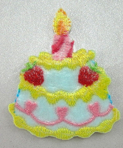 "Birthday Cake Embroidered Iron-On with One Candle 1.5"" x 1.5"""
