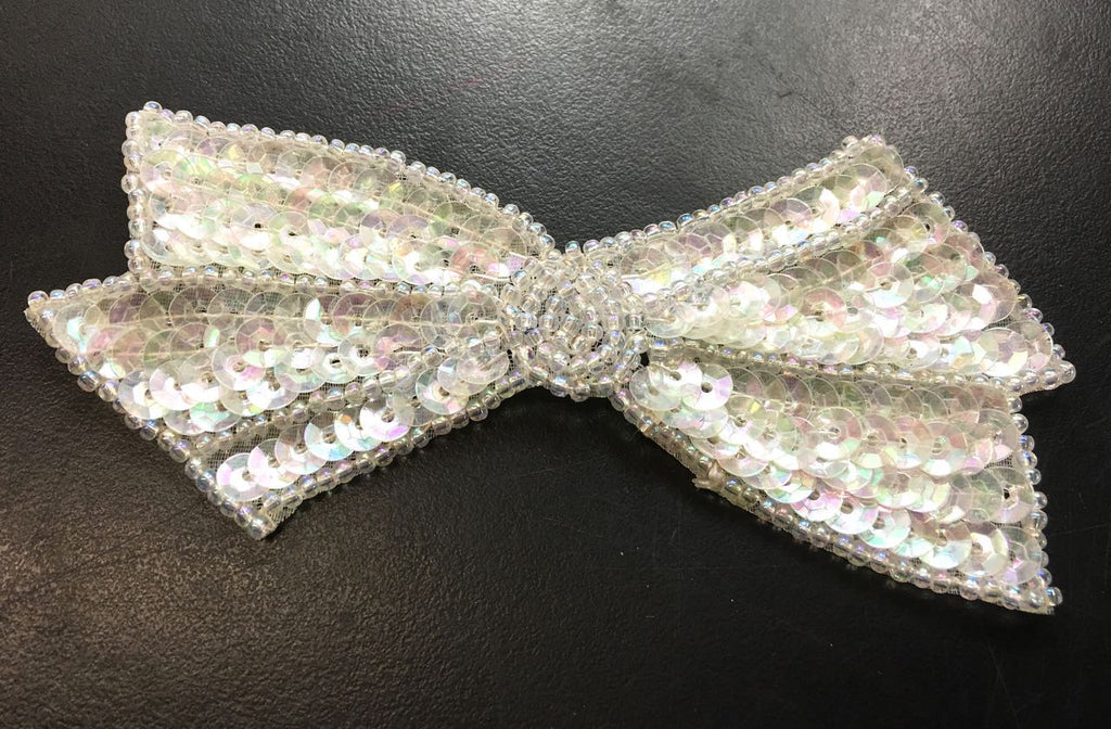 "12 PACK Bow with Chrystal Iridescent Sequins and Beads  2"" x 4"" - Sequinappliques.com"
